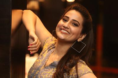 Manjusha at Ranarangam Movie Pre Release Event