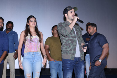 Mr. Majnu Movie Team At Theatre With Fans