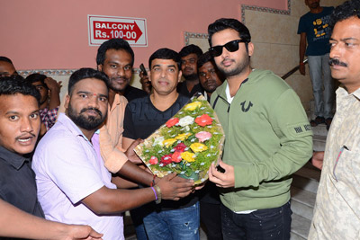 Srinivasa Kalyanam Movie Team at Theatres For Promotions