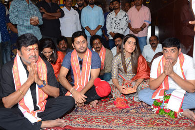 Srinivasa Kalyanam Movie Team in Durga Temple Vijayawada