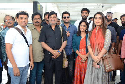 Srinivasa Kalyanam Movie Team in Dwaraka Tirumala